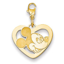 Disney Collection SS Gold Plated Disney Mickey Heart Lobster Clasp Charm - $41.07