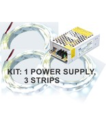 Kit: 100W Power Supply+ 3x 4' LED Strips, Bright White, Florescent Tube ... - $31.60