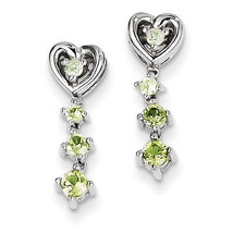 925 Silver Rhodium Plated Polished Peridot Diamond Dangle Post Earrings - €36,82 EUR