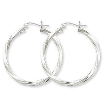 925 Sterling Silver Rhodium Plated 3mm x 35mm Twisted Polished Hoop Earr... - $33.30