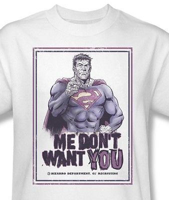 Bizarro T-shirt Me Don't Want cotton graphic tee Superman super hero SM1732