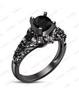 Sterling Silver Round Cut Black Sim Diamond Anniversary Bridal Attractive Ring