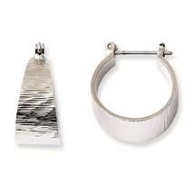 Ladies Silver Tone Textured Small Post Hoop Ear... - $29.14