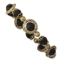 Ladies Black Acrylic Beads Brass Tone 1928 Boutique Stretch Bracelet - $23.03