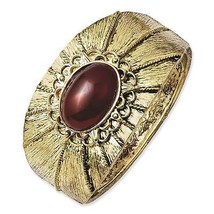 Ladies Brass Tone Red Acrylic Stone Hinged Cuff... - $35.15