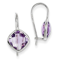 925 Sterling Silver Rhodium Plated Kidney Wire Pink Quartz Dangle Earrings - €77,10 EUR
