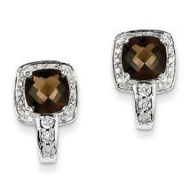 925 Sterling Silver Rhodium Plated Diamond & Antique Cut Smoky Quartz Ea... - €108,57 EUR