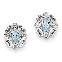 925 Sterling Silver Rhodium Plated Diamond Sky Blue Topaz Post Earrings - €55,29 EUR