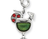 925 Sterling Silver Enameled Martini Glass Charm Pendant 18mmx13mm