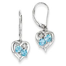 925 Sterling Silver Rhodium Plated Blue Topaz Diamond Polished Dangle Ea... - €68,11 EUR