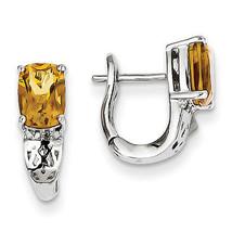 925 Sterling Silver Rhodium Plated Diamond & Whiskey Quartz Hinged Hoop ... - €63,86 EUR