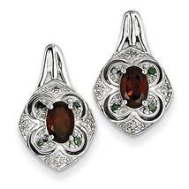 925 Silver Rhodium Plated White & Green Diamond & Garnet Oval Post Earrings - €63,81 EUR