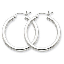 925 Sterling Silver Rhodium Plated 3mm x 30mm Round Polished Hoop Earrings - $28.07