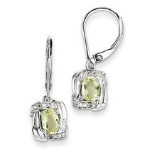 Sterling Silver Rhodium Plated Diamond & Lemon Quartz Oval Lever Backs E... - €39,59 EUR