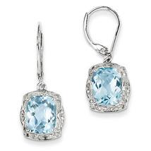 925 Sterling Silver Rhodium Plated Diamond Blue Topaz Dangle Leverback E... - €188,58 EUR