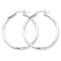 925 Sterling Silver Rhodium Plated 2.5mm x 35mm Twisted Polished Hoop Ea... - $32.83