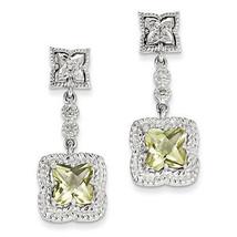 925 Sterling Silver Rhodium Plated Lemon Quartz & Diamond Dangle Post Ea... - €99,63 EUR
