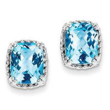 925 Sterling Silver Rhodium Plated Blue Topaz Open Back Polished Post Ea... - €108,13 EUR