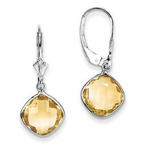 925 Sterling Silver Rhodium Plated Citrine Dangle Leverback Polished Ear... - €80,78 EUR