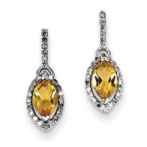 925 Sterling Silver Rhodium Plated Diamond & Citrine Dangle Post Earrings - €141,10 EUR