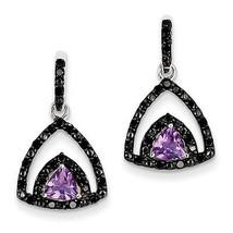 925 Sterling Silver Rhodium Plated Amethyst and Black Diamond Post Earrings - €209,53 EUR