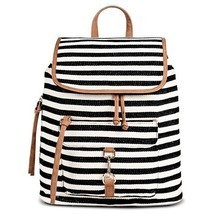 Women's Fashionable Black Stripe Print Canvas Backpack Handbag with Tan ... - $1.045,61 MXN