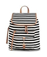 Women's Fashionable Black Stripe Print Canvas Backpack Handbag with Tan ... - £41.73 GBP