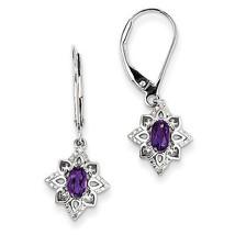 925 Sterling Silver Rhodium Plated Amethyst Diamond Leverback Dangle Ear... - €39,10 EUR