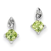 925 Sterling Silver Rhodium Plated Diamond Peridot Open Back Post Earrings - €43,54 EUR
