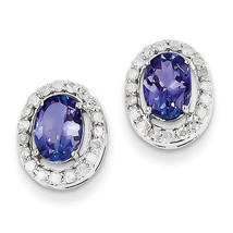 925 Silver Rhodium Plated Polished Diamond & Tanzanite Oval Post Earrings - €535,45 EUR