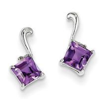 925 Sterling Silver Rhodium Plated Diamond & Amethyst Square Post Earrings - €61,06 EUR