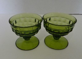 Avocado Green Indiana Glass Whitehall Colony Cubist Footed Sherbet Qty o... - $14.73