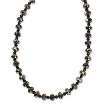 "Aurora Borealis Black Glass Beads 16"" w/ext Bla... - $31.57"