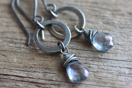 Blue Briolettes  Earrings , Blue Gemstone ,Oxidized Sterling Silver Wire Wrapped - $30.00