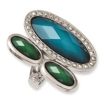 Laundry Silver tone Blue & Green Resin Stones R... - $33.73