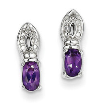 925 Silver Rhodium Plated Oval Cut Amethyst Diamond Polished Post Earrings - €35,22 EUR