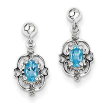 925 Silver Rhodium Plated Pear Swiss Blue Topaz & Diamond Dangle Post Ea... - €35,72 EUR