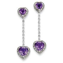 925 Sterling Silver Rhodium Plated Diamond & Amethyst Hear Dangle Post E... - €149,57 EUR