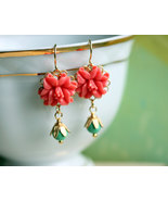 Coral Turquoise Bead Earrings, Little Coral Chandelier Earrings  Coral F... - $26.00