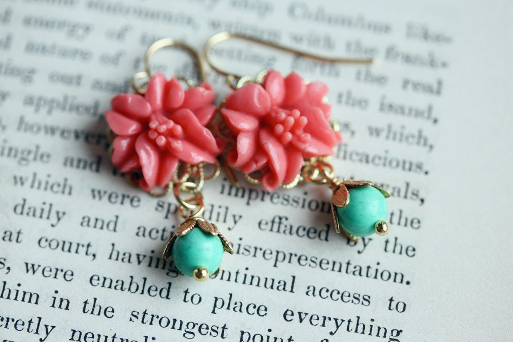 Coral Turquoise Bead Earrings, Little Coral Chandelier Earrings  Coral Flower Ea
