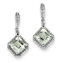 925 Sterling Silver Rhodium Plated Diamond & Green Amethyst Post Dangle ... - €70,90 EUR