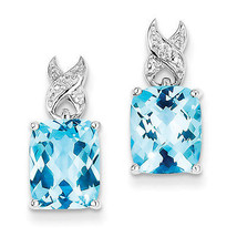 925 Sterling Silver Rhodium Plated Blue Topaz Dangle Polished Post Earrings - €106,52 EUR
