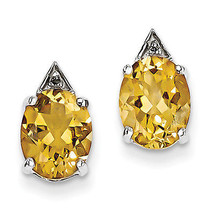 925 Sterling Silver Rhodium Plated Citrine & Diamond Post Polished Earrings - €73,33 EUR