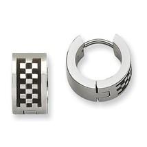 Mens Ladies Chisel Stainless Steel Checkerboard Pattern Hinged Hoop Earr... - $30.08