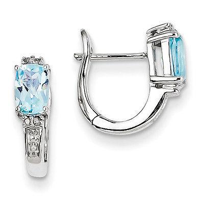 925 Sterling Silver Rhodium Plated Diamond & Sky Blue Topaz Hinged Hoop Earrings