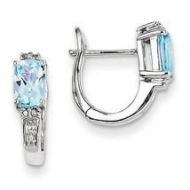 925 Sterling Silver Rhodium Plated Diamond & Sky Blue Topaz Hinged Hoop ... - €62,27 EUR