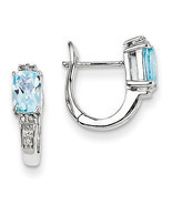 925 Sterling Silver Rhodium Plated Diamond & Sky Blue Topaz Hinged Hoop ... - $94.63 CAD