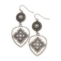Ladies Silver Tone Clear Glass Stone Floral Motif Dangle Earrings 1928 B... - $24.73