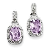 925 Sterling Silver Rhodium Plated Pink Quartz Dangle Post Earrings - €75,18 EUR