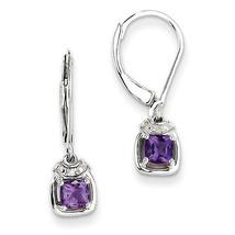 925 Silver Rhodium Plated Diamond & Amethyst Leverback Dangle Earrings - €39,86 EUR